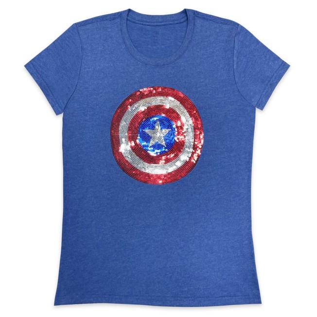 Captain America Sequin Shield T-Shirt for Women