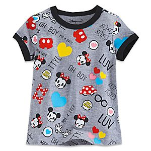 Mickey and Minnie Mouse Emoji Tee for Girls