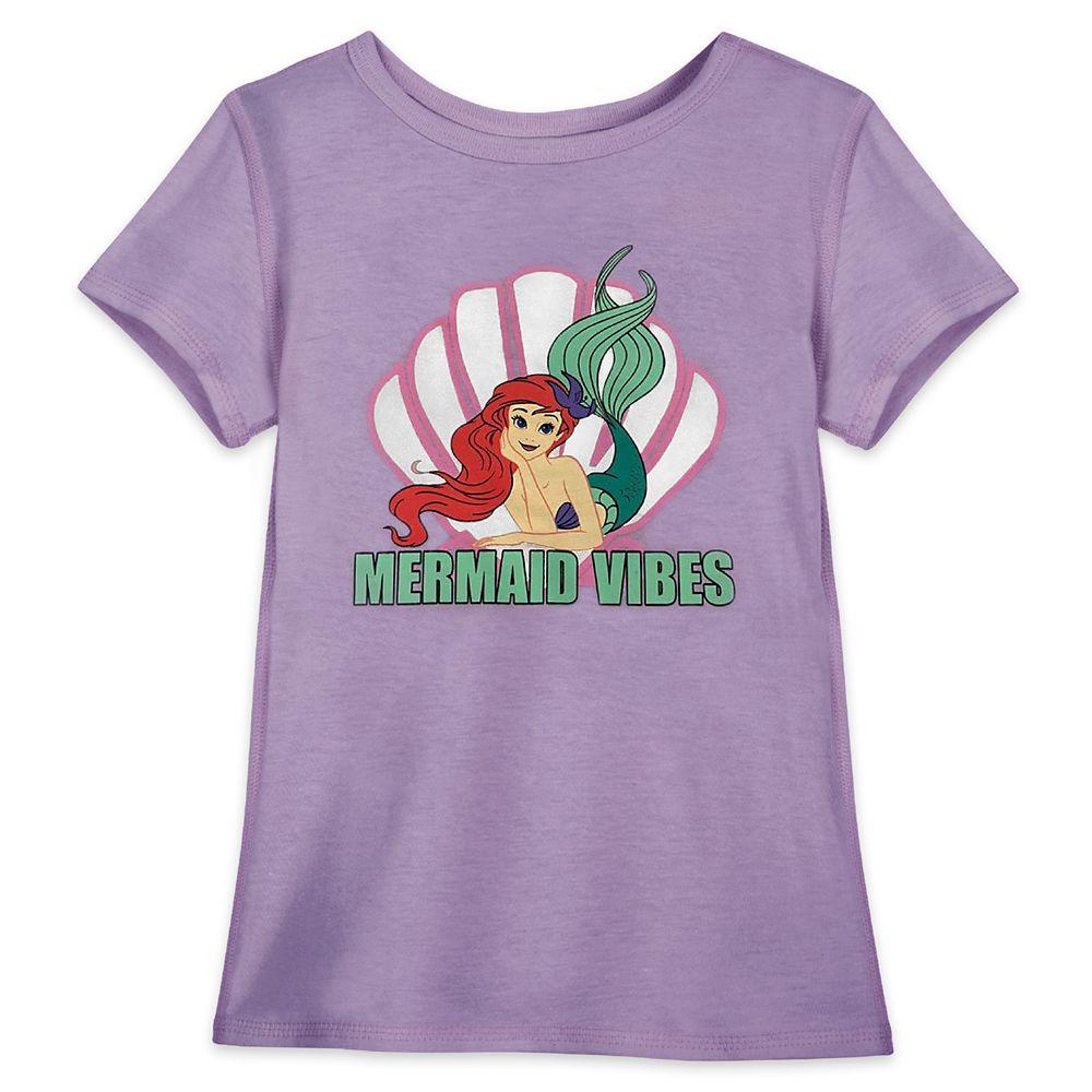 "shopdisney.com - Ariel ""Mermaid Vibes"" T-Shirt for Girls  The Little Mermaid  Sensory Friendly Official shopDisney 18.99 USD"