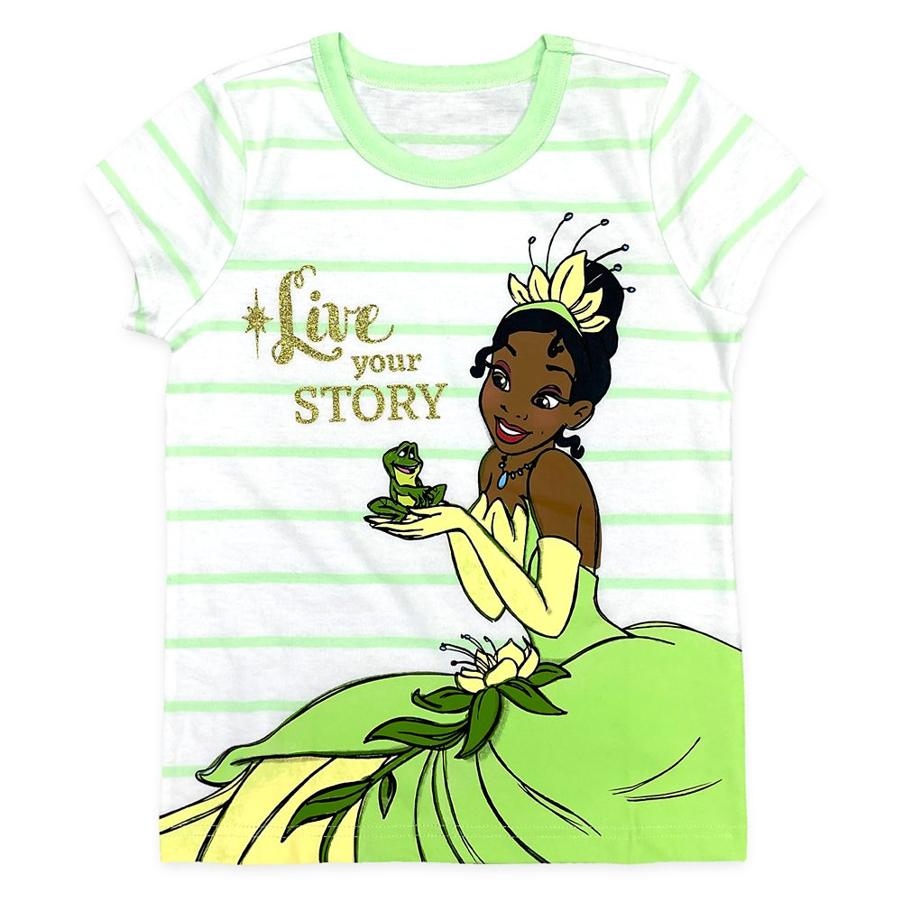 Tiana and Naveen Striped T-Shirt for Girls – The Princess and the Frog