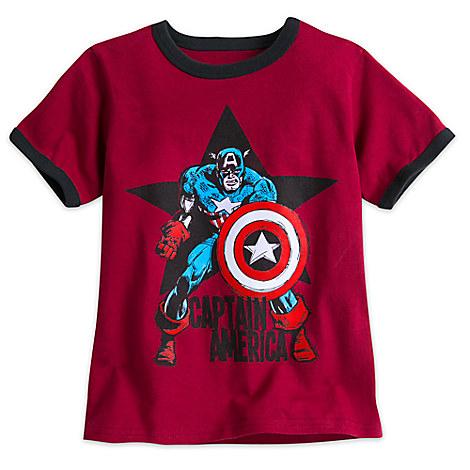 Captain America Ringer Tee for Boys