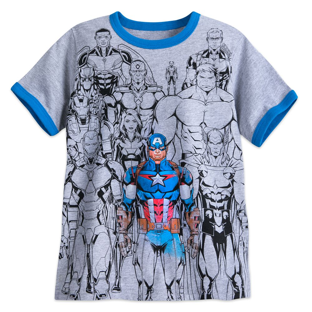 Captain America with Avengers Ringer T-Shirt for Boys