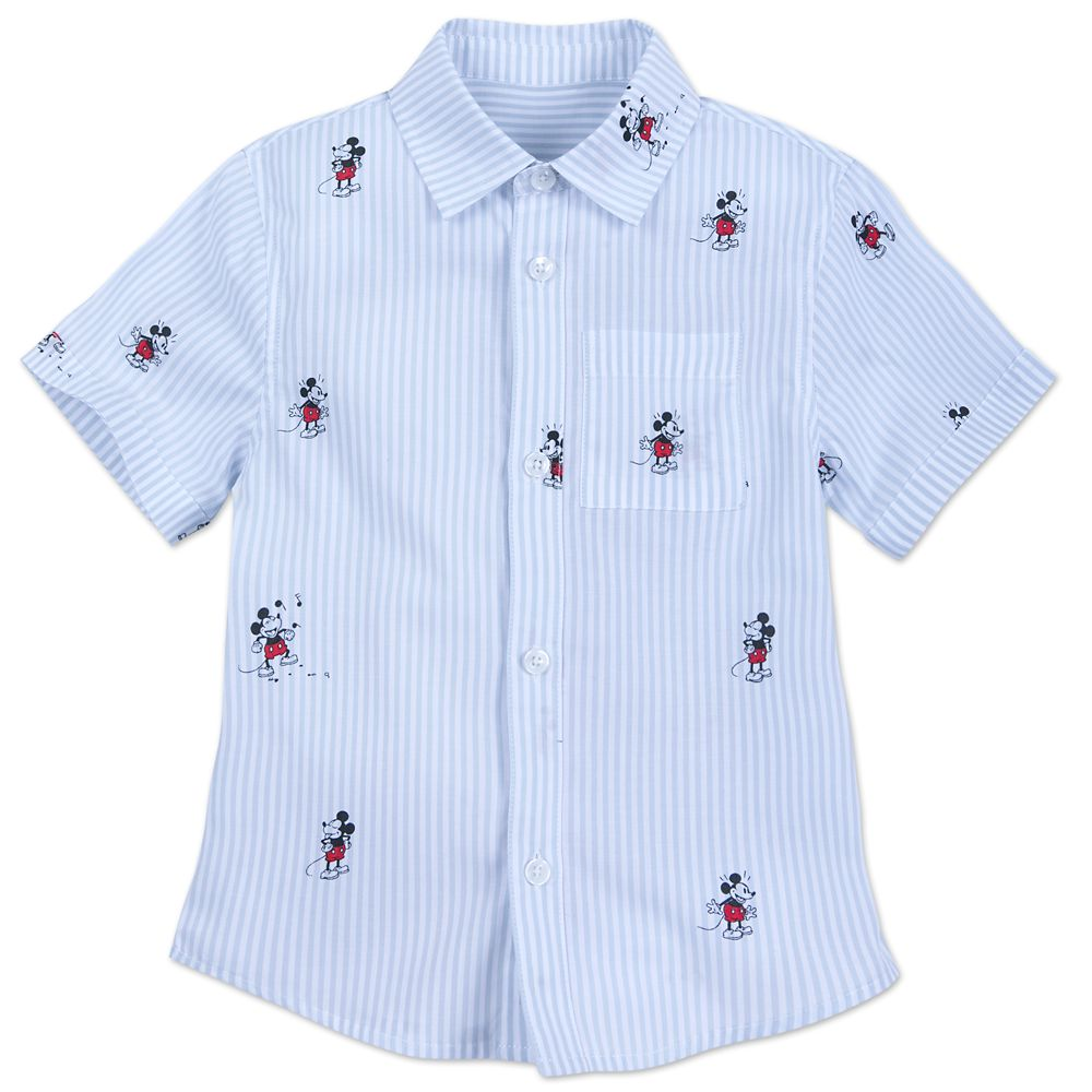 Mickey Mouse Striped Button Shirt for Kids