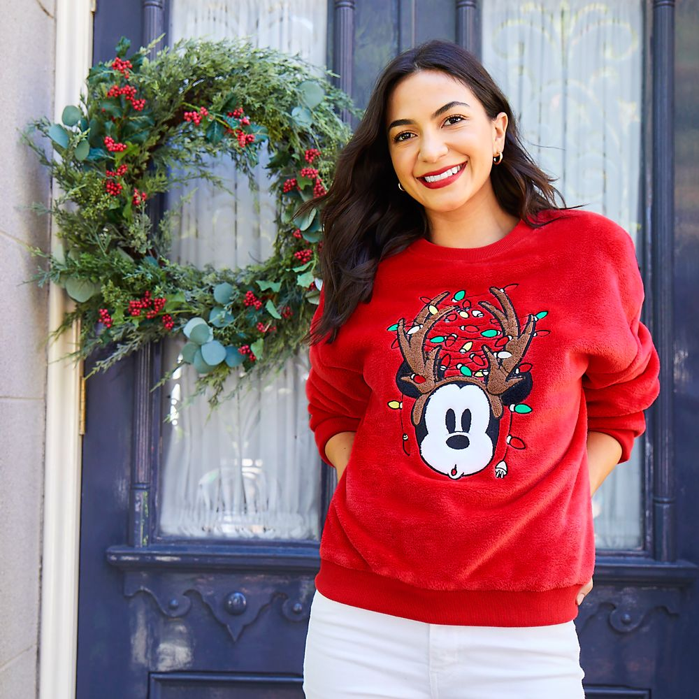 Mickey Mouse Reindeer Antlers Fuzzy Pullover Top for Women