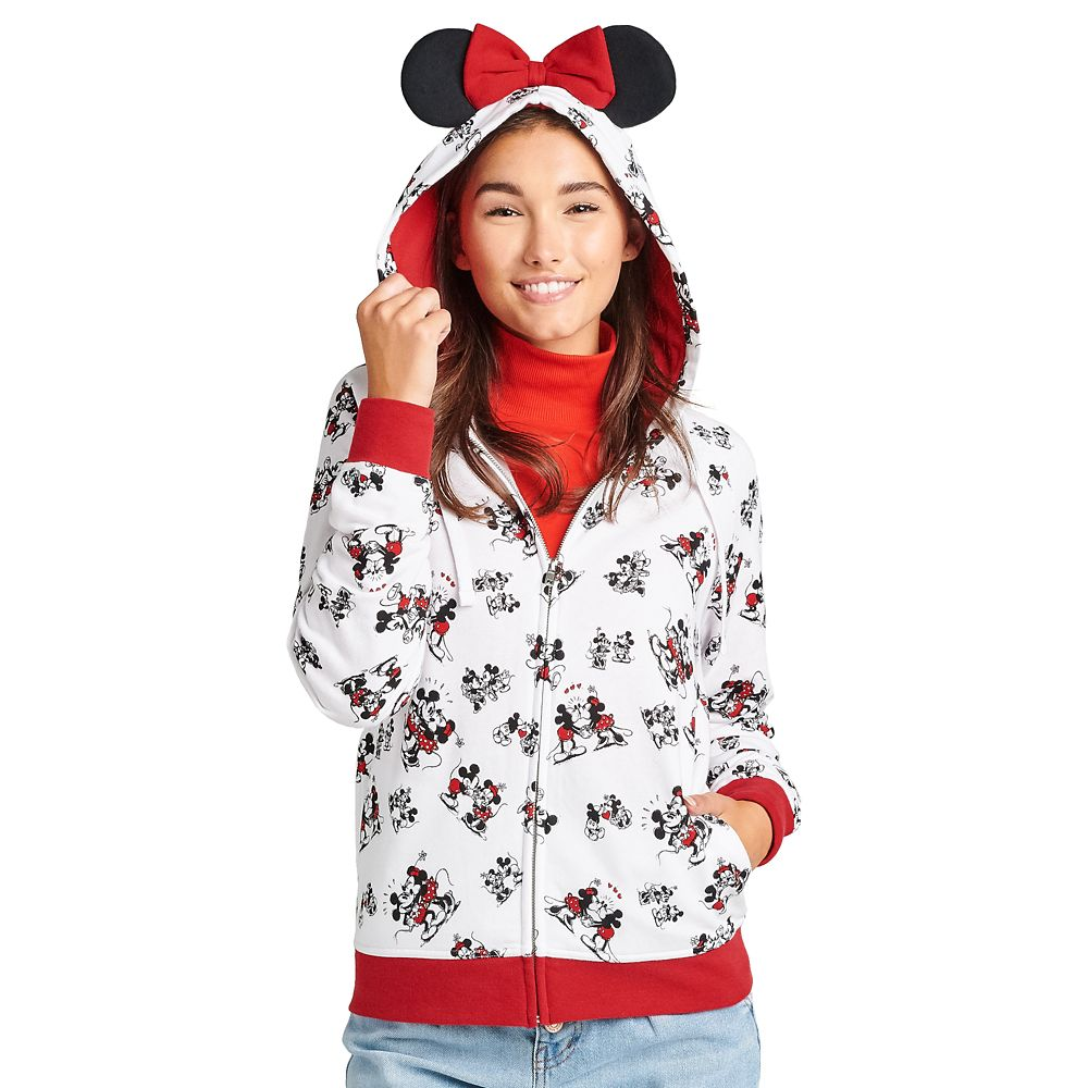 Mickey and Minnie Mouse Zip Hoodie for Adults