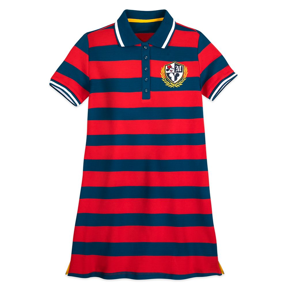 Minnie Mouse Striped Polo Shirt Dress for Women