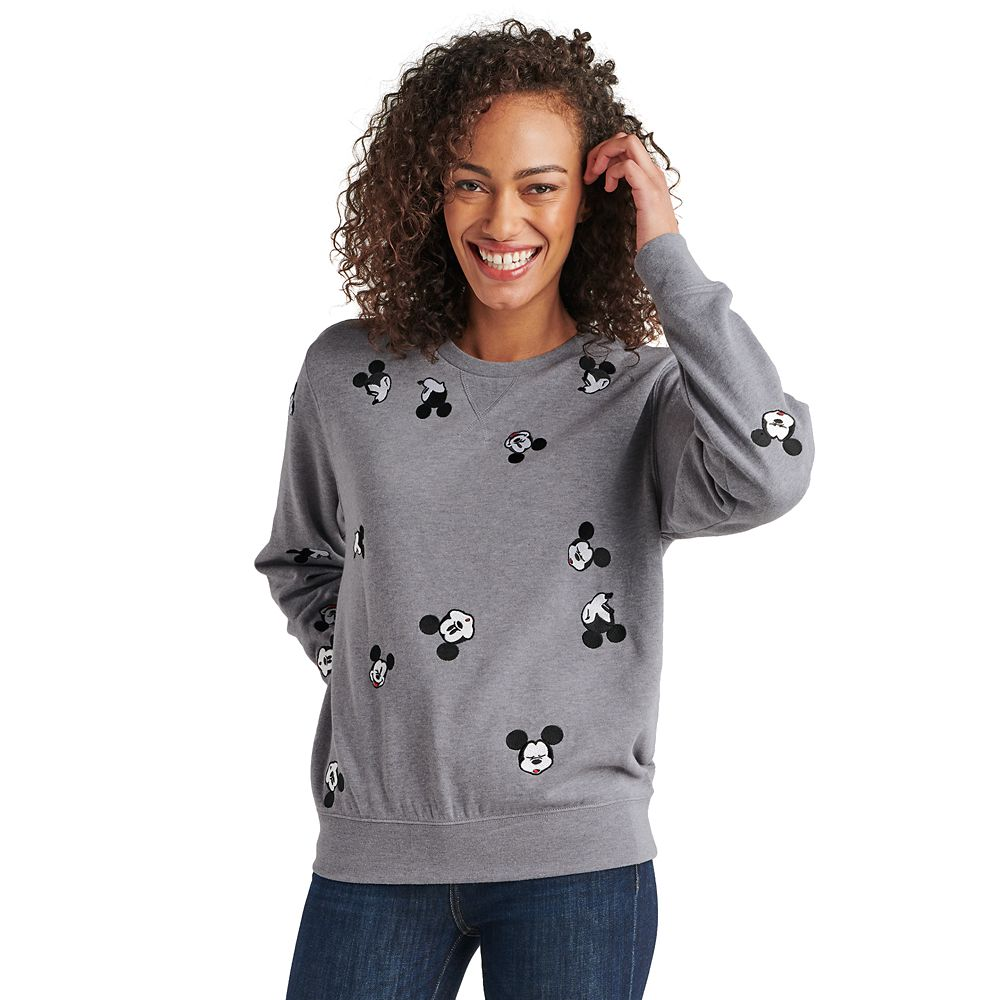 Mickey Mouse Pullover Sweater for Adults – Gray