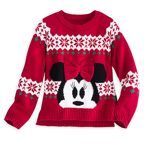 Minnie Mouse Red Bow Holiday Sweater for Girls