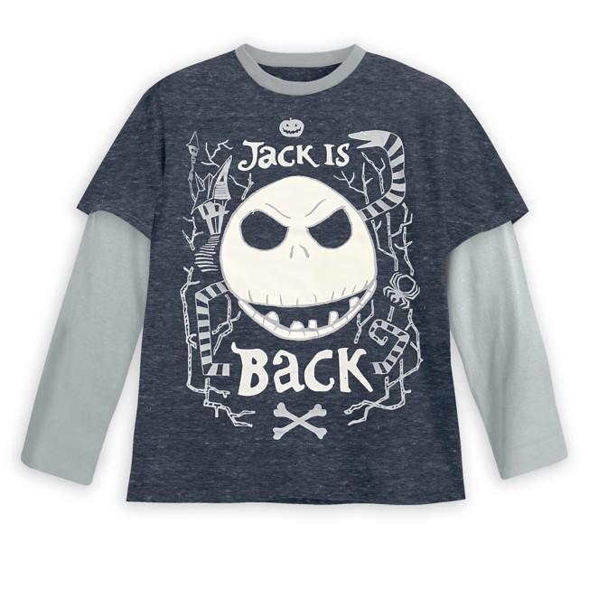 Jack Skellington Layered Long Sleeve T-Shirt for Kids – Tim Burton's The Nightmare Before Christmas