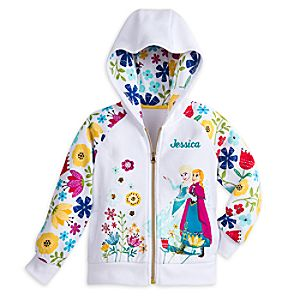 Anna and Elsa Zip Fleece Hoodie for Girls - Personalizable