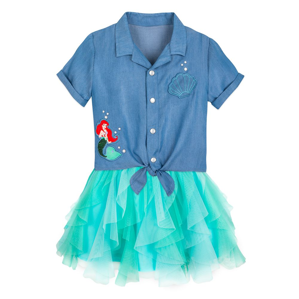 Ariel Woven Shirt and Skirt Set for Girls