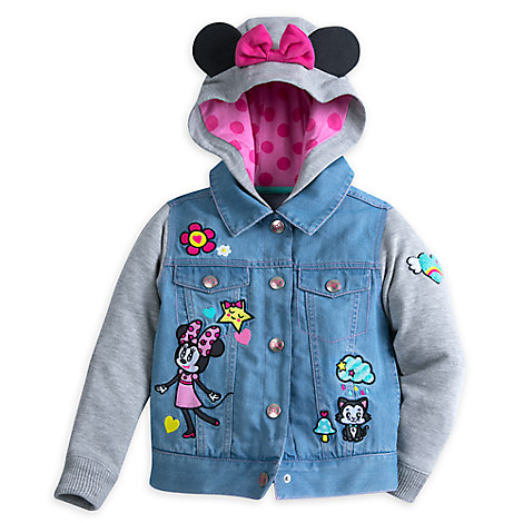 Minnie Mouse and Figaro Denim Hoodie for Girls