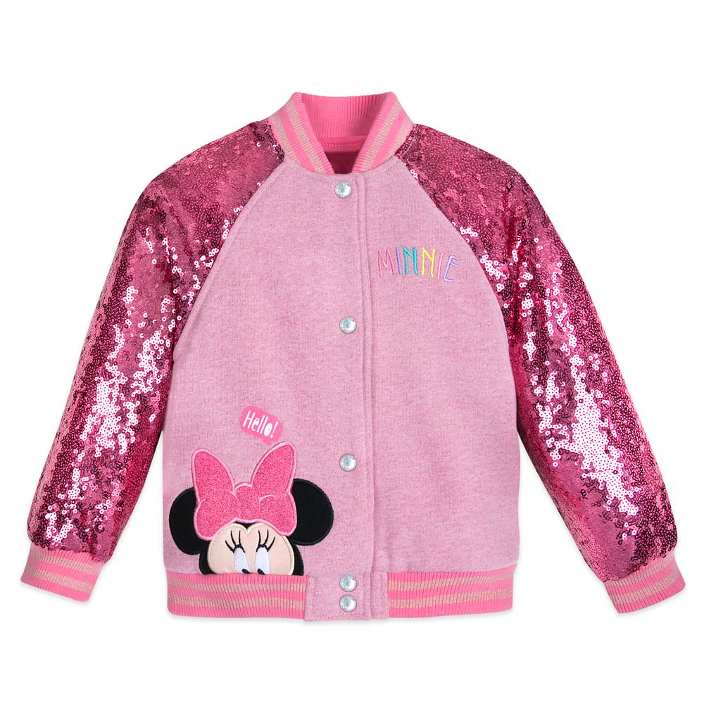 Minnie Mouse Pink Sequin Varsity Jacket – Personalized