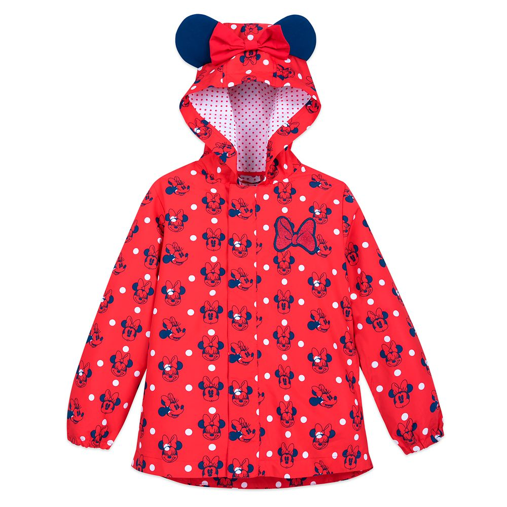 Minnie Mouse Red Packable Rain Jacket and Attached Carry Bag for Kids