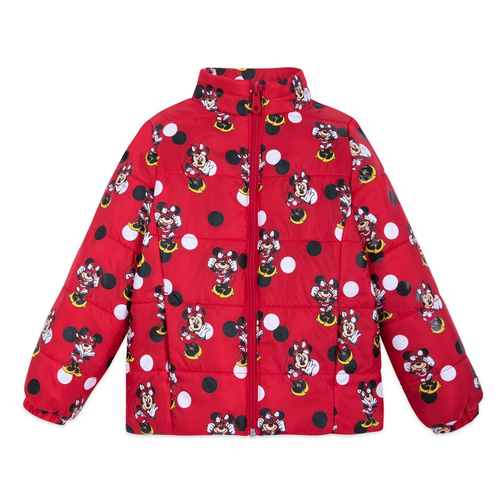Minnie Mouse Red Lightweight Puffy Jacket for Girls – Personalized