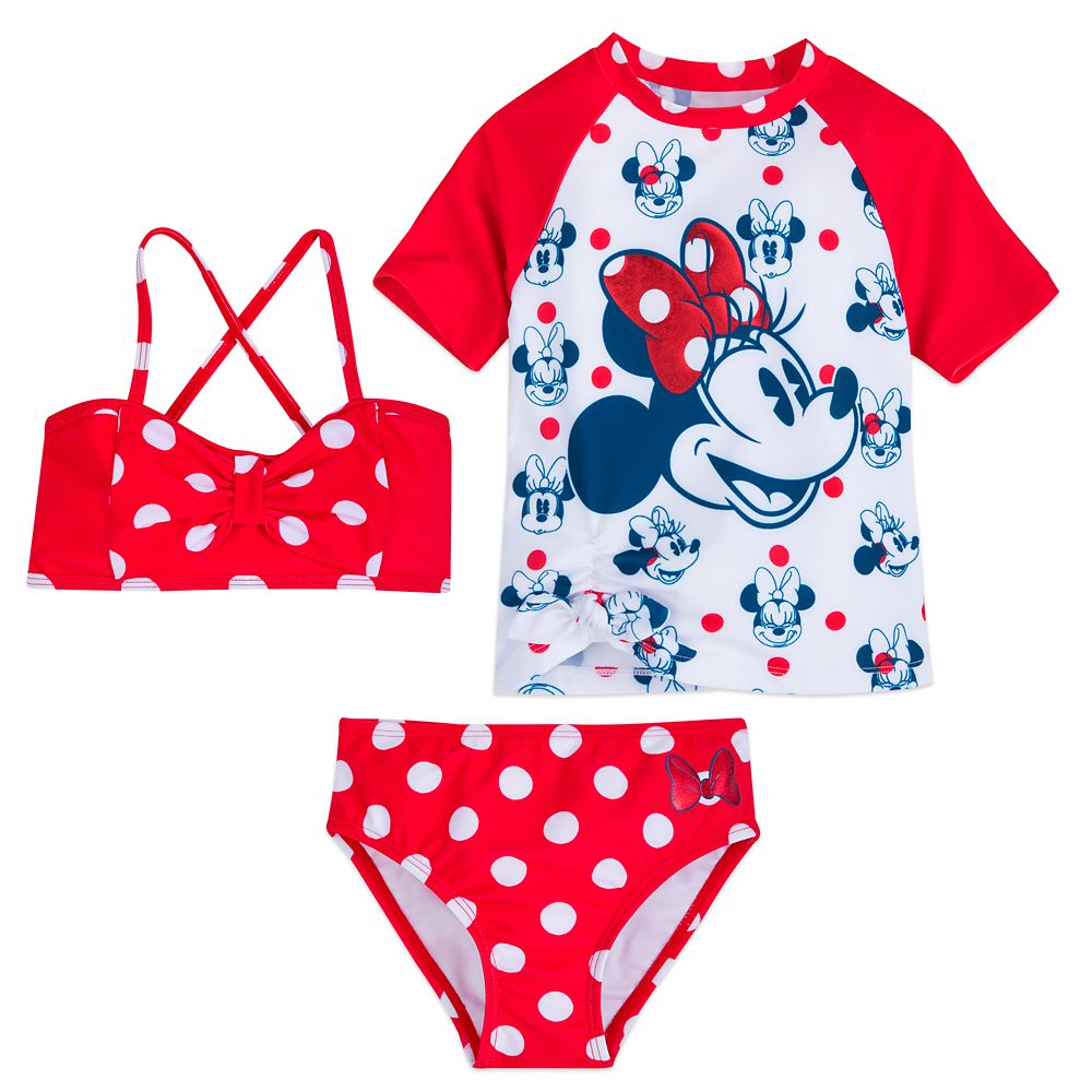 Minnie Mouse Red Polka Dot Deluxe Swimsuit Set for Girls