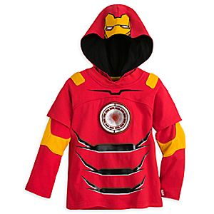 Iron Man Double-Up Long Sleeve Hooded Tee for Boys