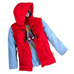 Spider-Man Long Sleeve Tee and Hooded Vest Set for Boys 5805057390437M