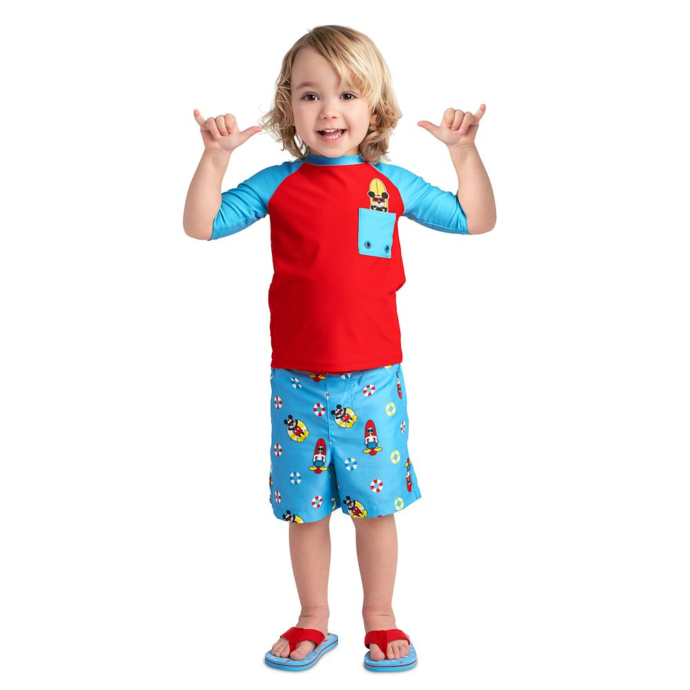 Mickey Mouse and Donald Duck Swim Trunks for Boys