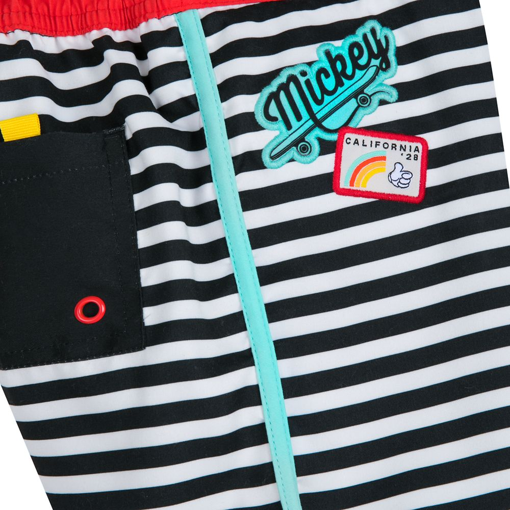 Mickey Mouse Striped Swim Trunks for Boys