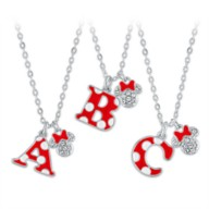 Minnie Mouse Enamel Initial Necklace