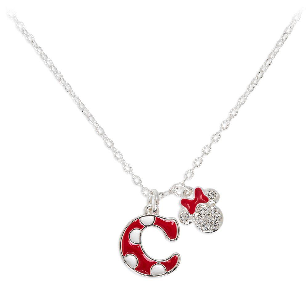 Minnie Mouse Enamel Initial Necklace – C