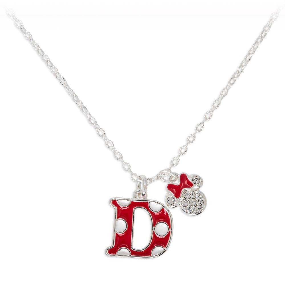 Minnie Mouse Enamel Initial Necklace – D