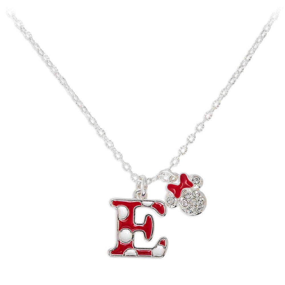 Minnie Mouse Enamel Initial Necklace – E