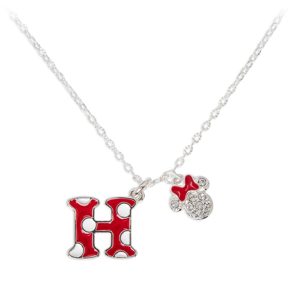 Minnie Mouse Enamel Initial Necklace – H