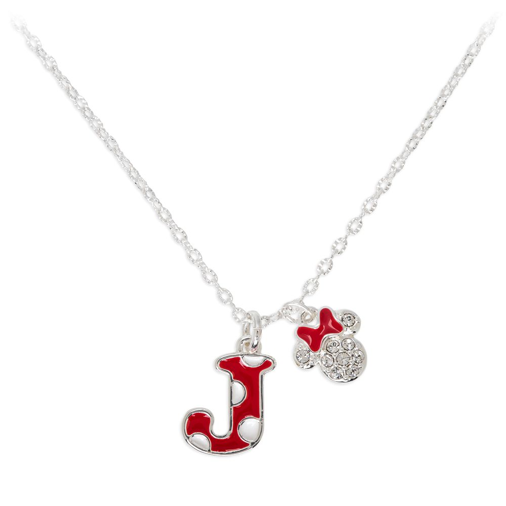 Minnie Mouse Enamel Initial Necklace – J