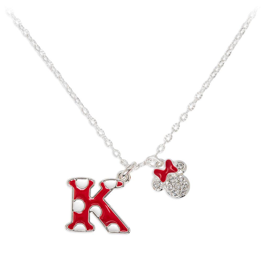 Minnie Mouse Enamel Initial Necklace – K