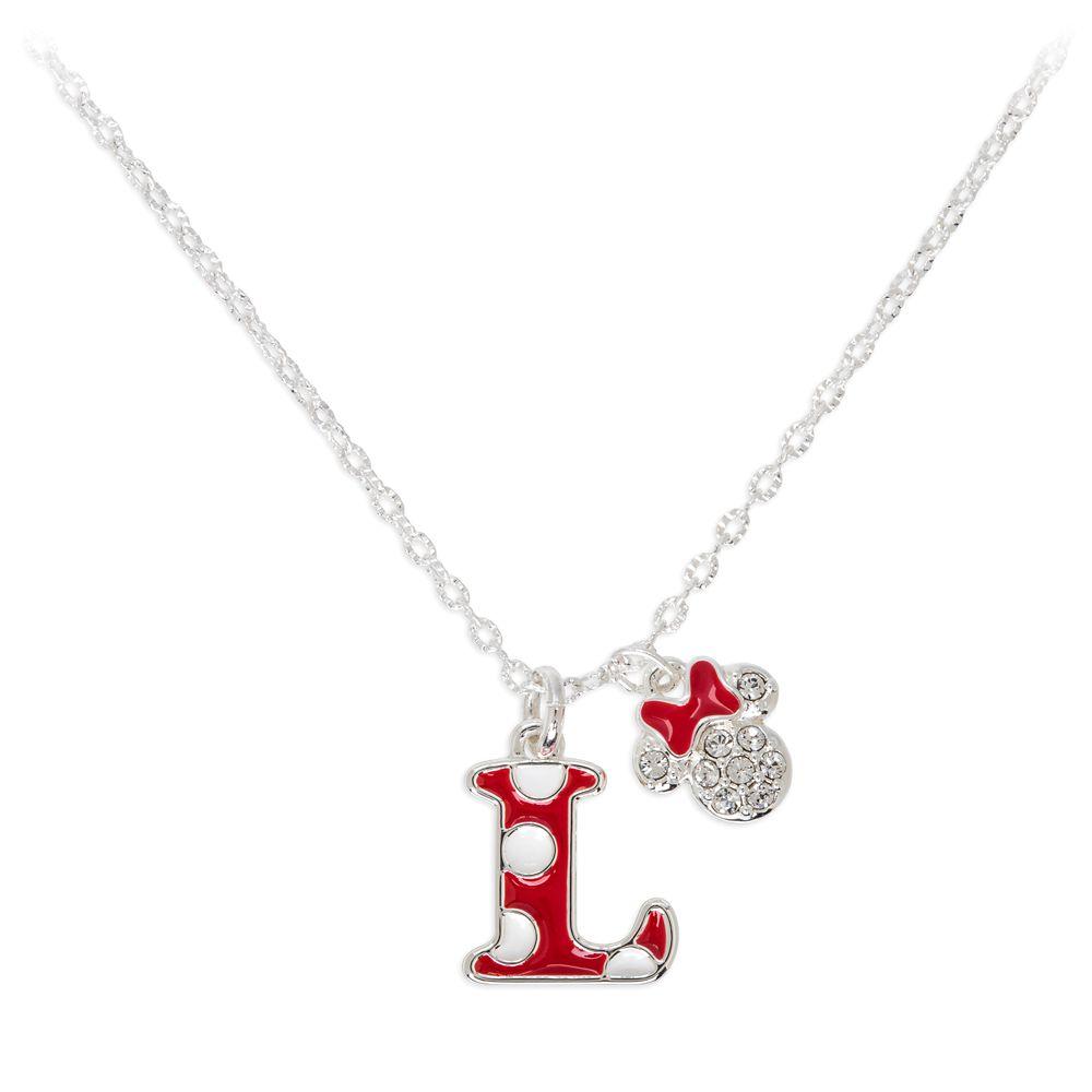 Minnie Mouse Enamel Initial Necklace – L