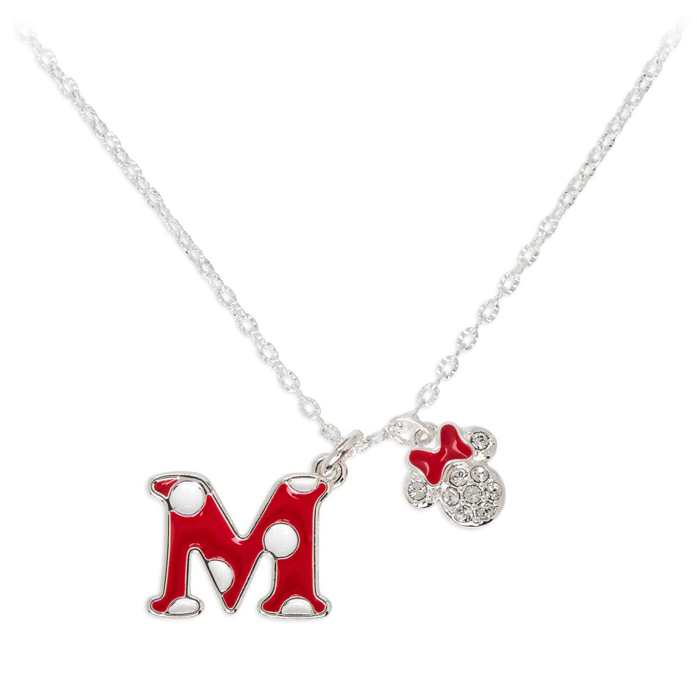 Minnie Mouse Enamel Initial Necklace – M