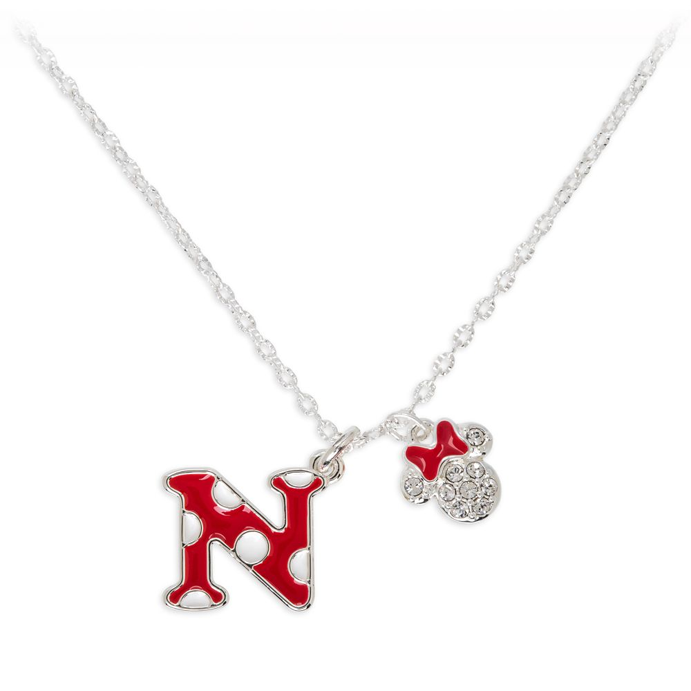 Minnie Mouse Enamel Initial Necklace – N