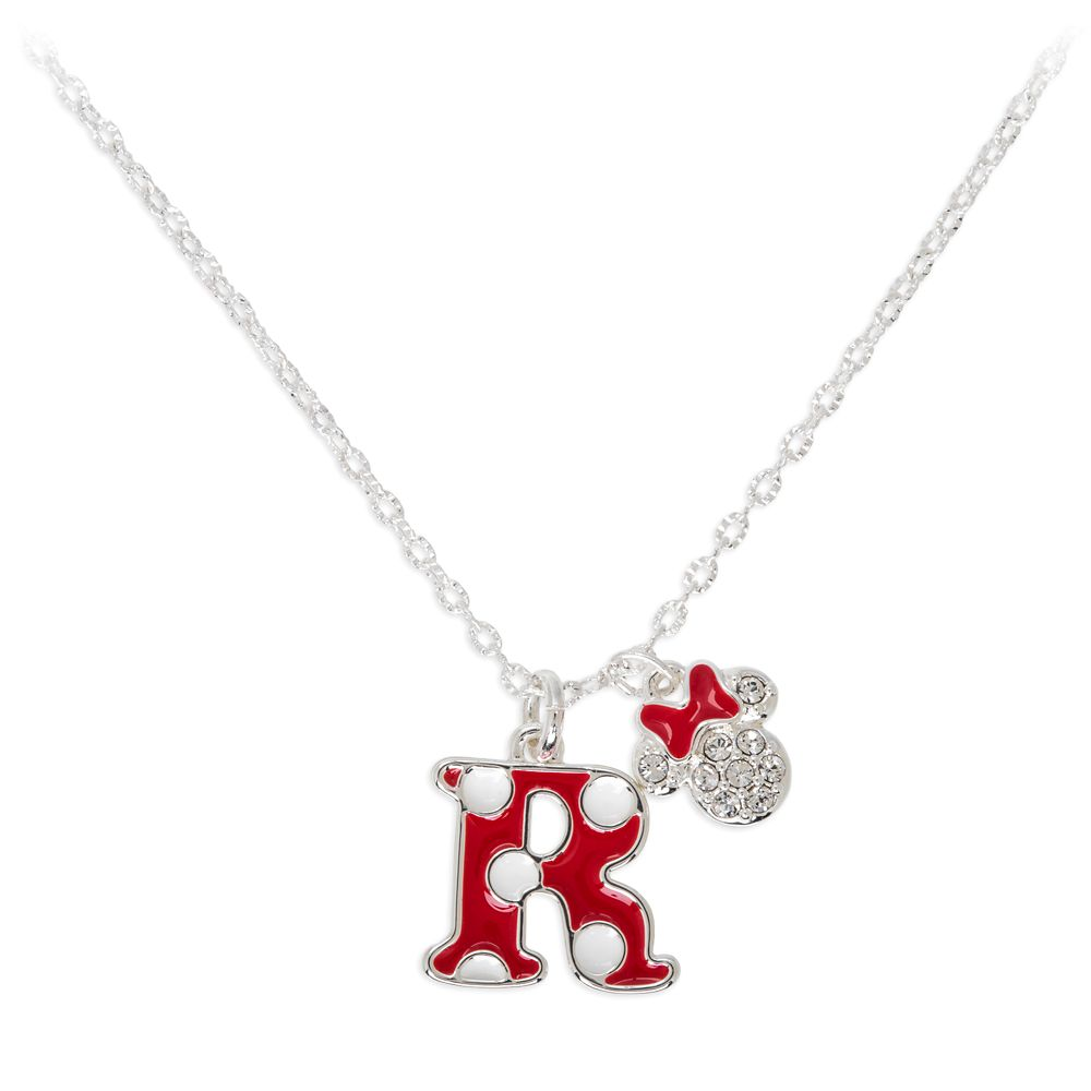 Minnie Mouse Enamel Initial Necklace – R