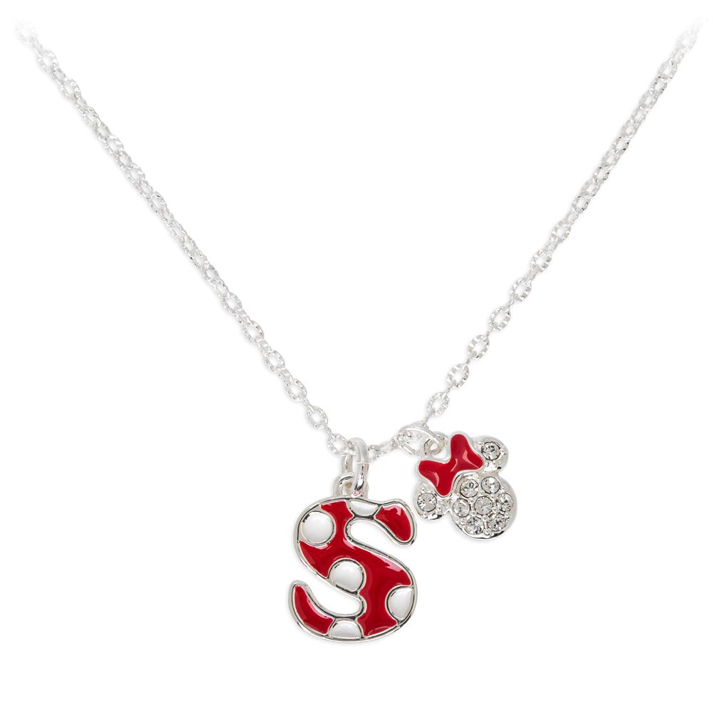 Minnie Mouse Enamel Initial Necklace – S