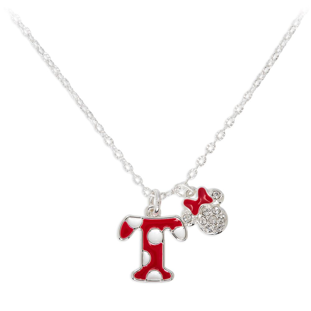 Minnie Mouse Enamel Initial Necklace – T