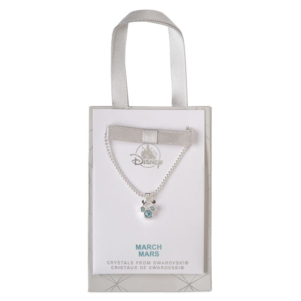 Mickey Mouse Icon Birthstone Necklace – March