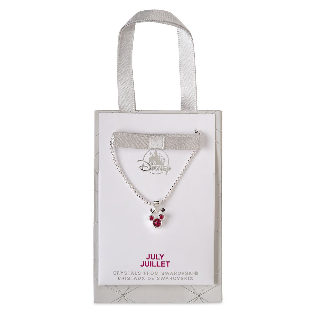 Mickey Mouse Icon Birthstone Necklace – July