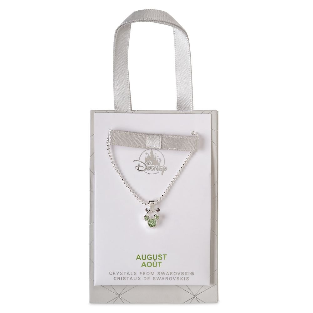Mickey Mouse Icon Birthstone Necklace – August