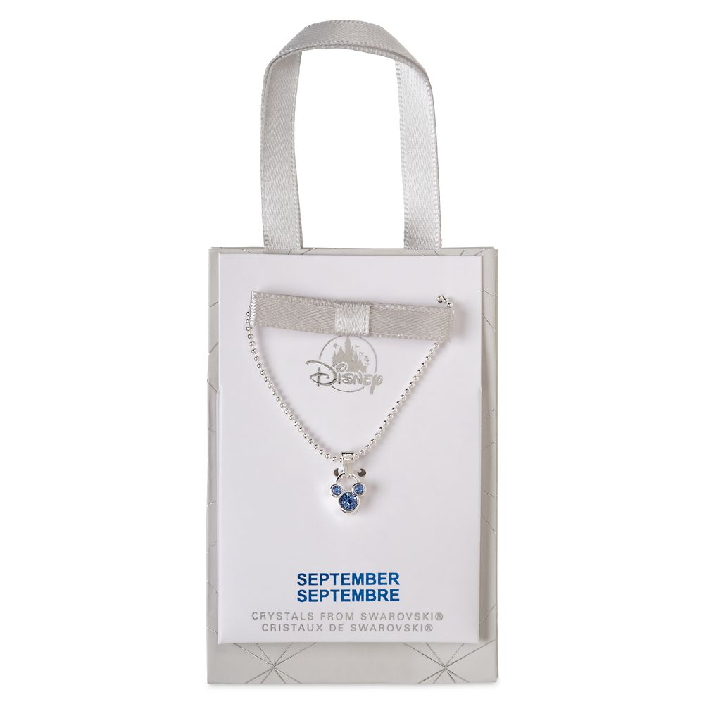 Mickey Mouse Icon Birthstone Necklace – September