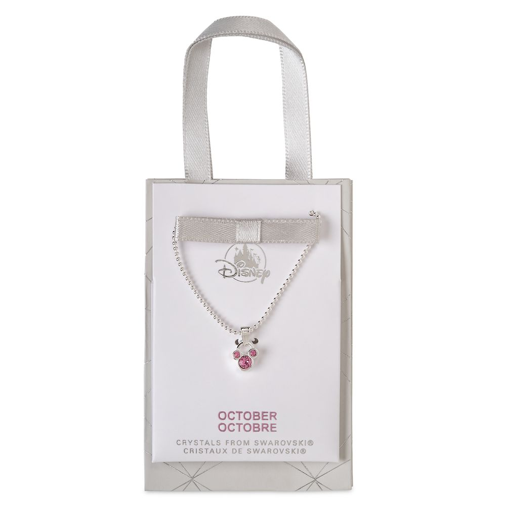 Mickey Mouse Icon Birthstone Necklace – October