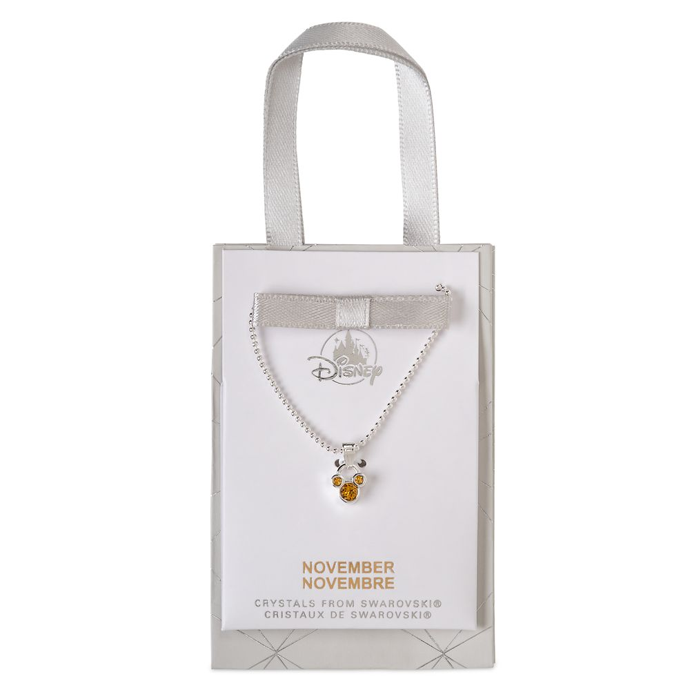 Mickey Mouse Icon Birthstone Necklace – November