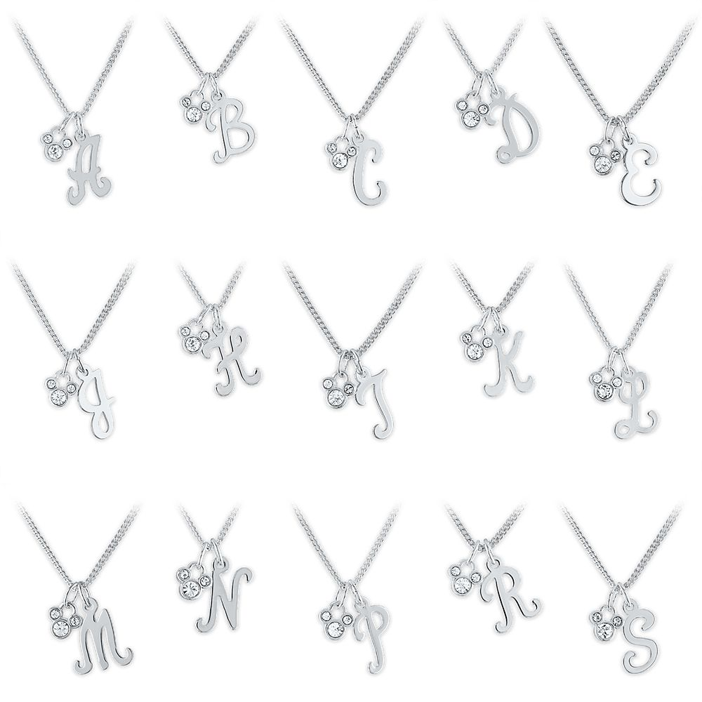 Mickey Mouse Swarovski Crystal Initial Necklace