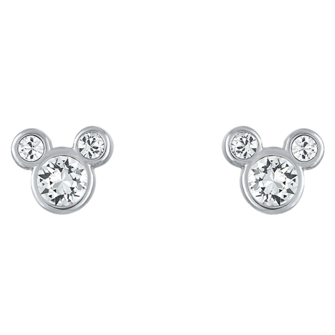 Mickey Mouse Icon Swarovski Crystal Earrings – Silver