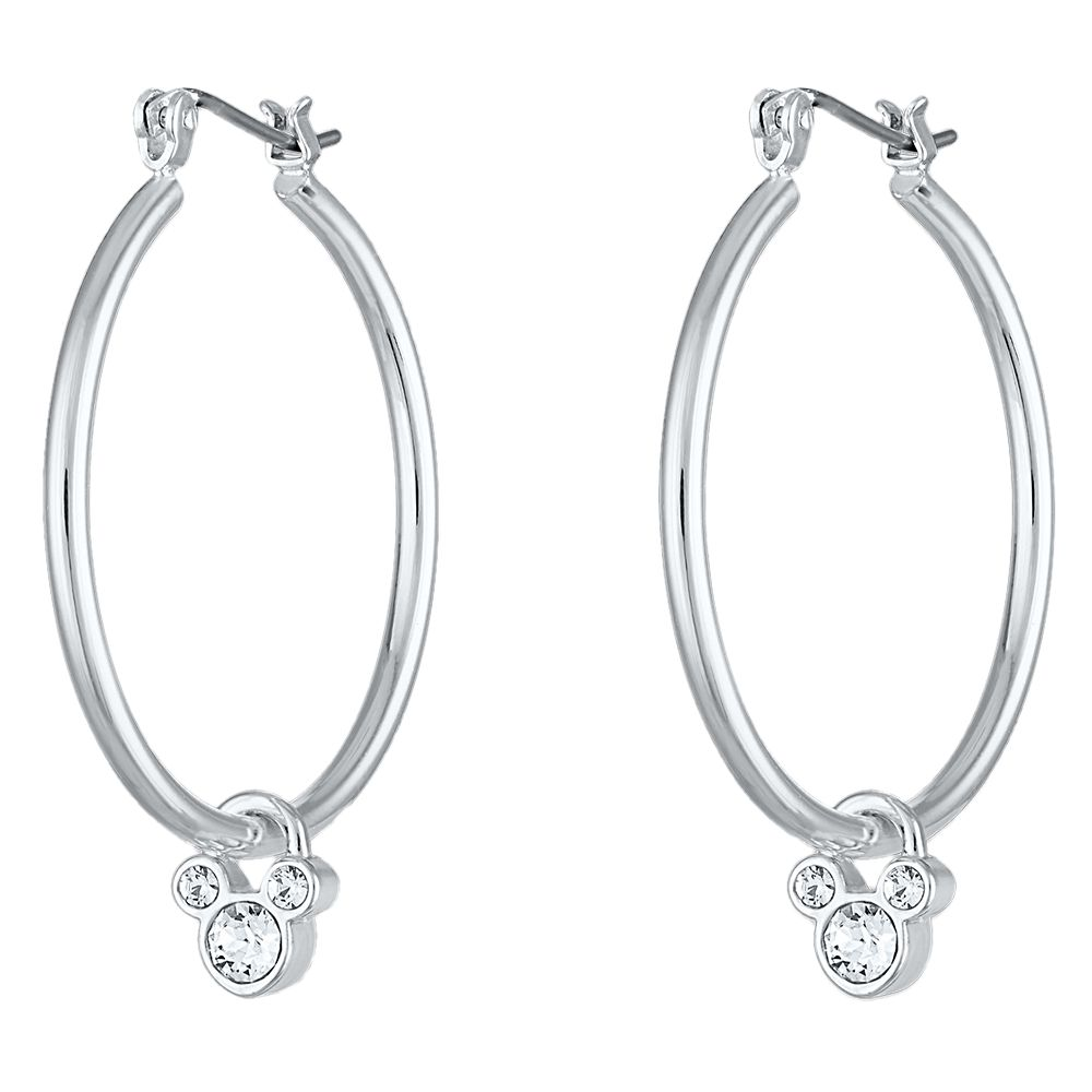 Mickey Mouse Crystal Icon Hoop Earrings