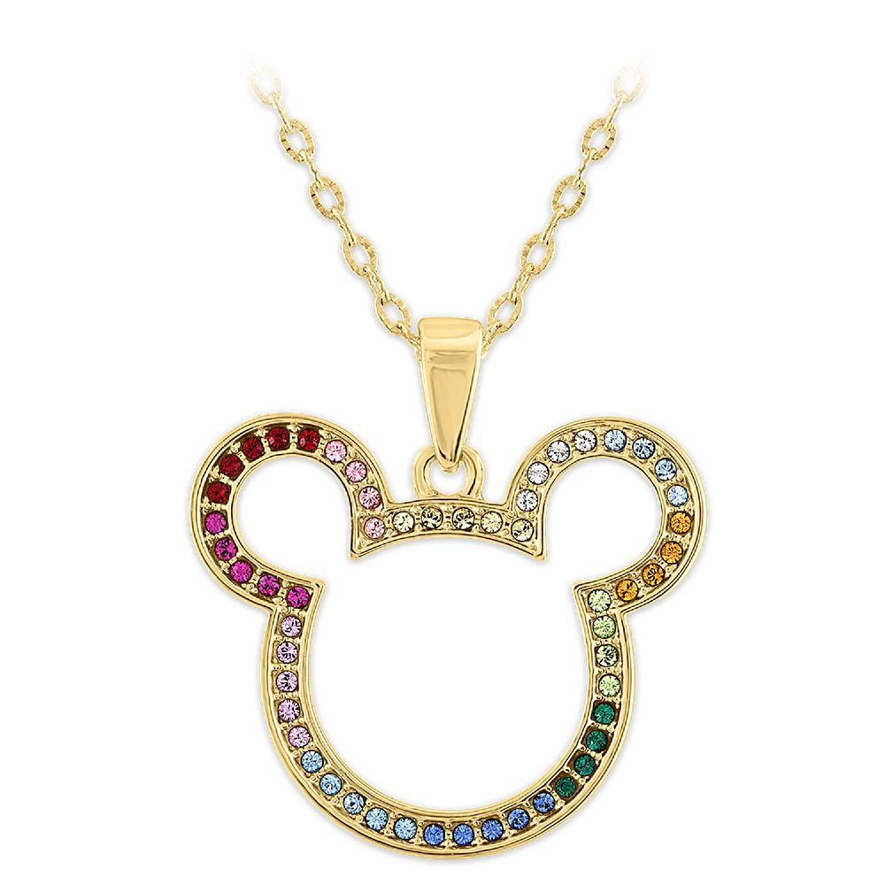 Mickey Mouse Icon Swarovski Crystal Rainbow Necklace
