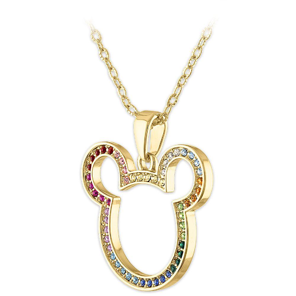 Mickey Mouse Icon Swarovski Crystal Rainbow Necklace