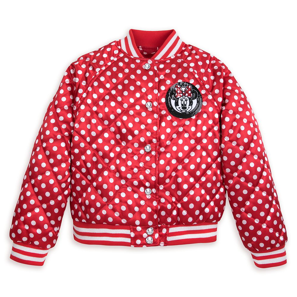 Minnie Mouse Polka Dot Varsity Jacket for Girls