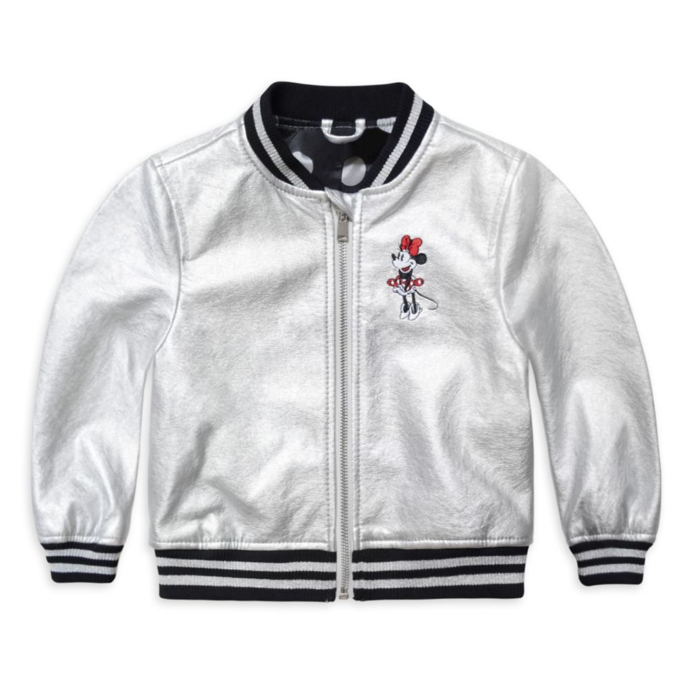 Minnie Mouse Grayscale Varsity Jacket for Girls